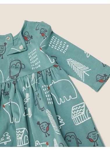 Marks & Spencer Saf Pamuklu Desenli Elbise Mavi